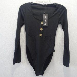 Boohoo Size 6 Long Sleeve Ribbed Bodysuit Black